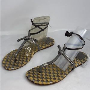 Tory Burch Sz 11 Yellow and Pewter Silver Sandals